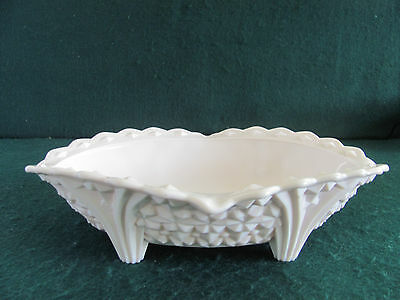 Vtg Jeannette Pink Milk Glass Buttons & Bows Footed Table Bowl