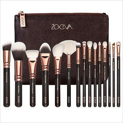 HOT SALE 15Pcs Rose Gold  Zoeva Makeup Brush Set + Zipper Bag UK Stock