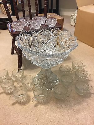 Vintage Nucut Imperial Glass Pedestal Punch Bowl & 17 Cups Whirling Star