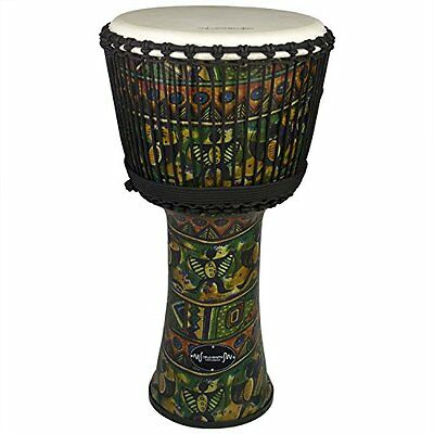 """World Rhythm 9"""" Djembe Drum in Green - 40cm African Synthetic Djembe Drum (g1S)"""