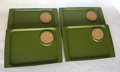 Set of 4 Vtg Acca by David Douglas Snack Food Trays Retro Avocado Green