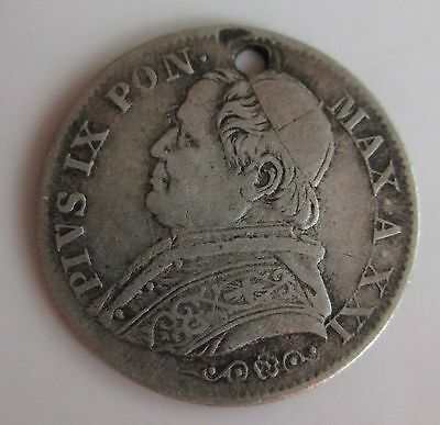 Papal States; Silver 5 Soldi 1867, holed