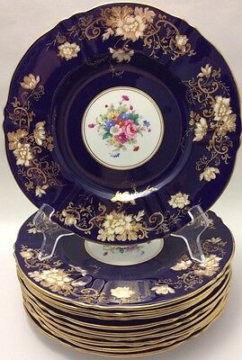 Beautiful Crown Staffordshire Cobalt Blue Gold Floral 4 Dinner Plates A14Y12