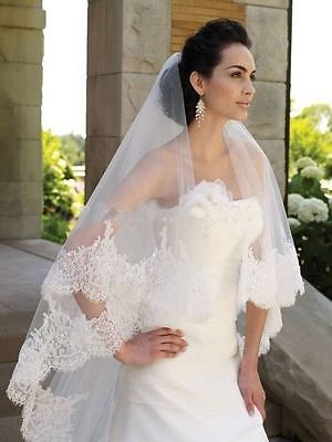 High Quality Tulle Beaded Sequins Lace  Cathedral Wedding Veil