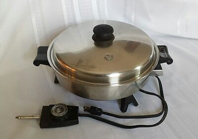 Saladmaster Electric Skillet Frying Pan Vintage 1970's Works
