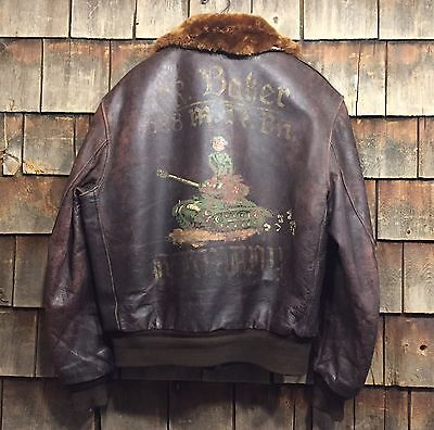 Incredible WWII 628th Tank Destroyer Battalion Tanker Leather Painted Jacket