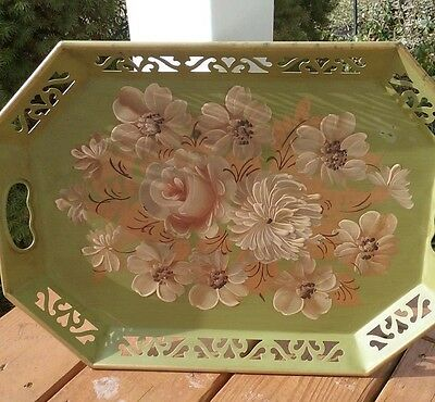 """Vintage green  Toleware  Floral  Hand Painted Metal Tray 18 1/2"""" x 13 1/2"""""""