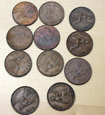 1944 -1967 Lot of 11 Different Great Britain 1 Penny Coins