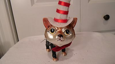 "Glass Cat Ornament,  With Red & White Top Hat, Red Bow Tie, 5 1/2""  X  3 1/2"""