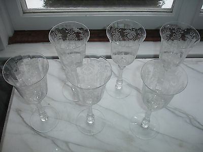 """Set of 6 Lovely Heisey Orchid Water Goblets Etched Crystal Stems 8 1/4"""" Height"""