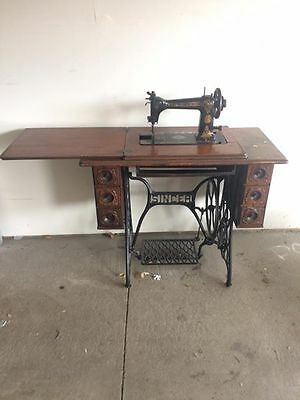 Antique Singer 9W Sewing Machine 1905 - 1912 Serial # 31670791 & Cast Iron FRAME