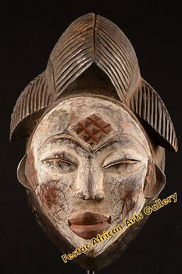 Old Tribal Maiden Punu Mask Gabon Africa Fes-0116