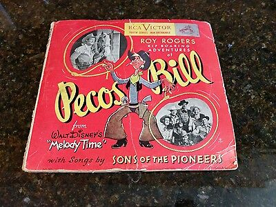 "Disney ""Melody Time"" Roy Rogers PECOS BILL RCA Victor 3 Records Set 78rpm"