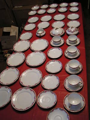 "80 Piece Antique European ""Union T"" Dinnerware Set - Made In Czecho-Slovakia"
