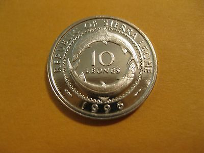 """1996 Sierra Leone coin 10 Leones """"FISH"""" unc beauty, sweet Africa coin"""