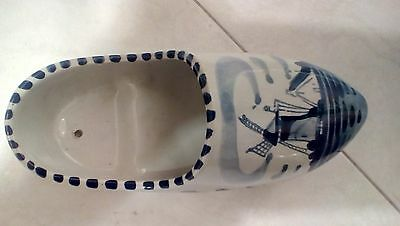 """Collectible Delft Blue Porcelain Dutch Shoe! 7"""" Long, Hand Painted From Holland"""