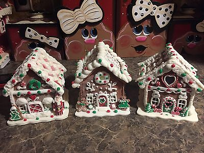 Set Of 3 Clay Dough Candy Gingerbread Houses 2 Light Up With Timer