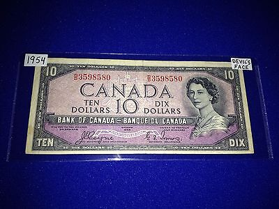Bank Of Canada 1954 $10.00 Devils Face Note, Coyne-Towers - Lot J-1