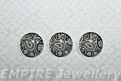 2 x Black Paisley Pattern 12x12mm Glass Cabochons Cameo Dome