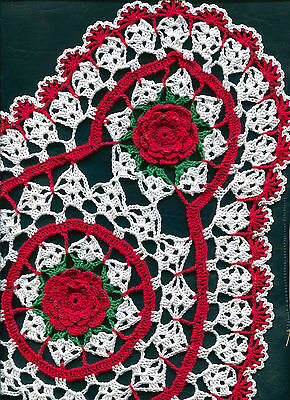 """Red Rose Green Leaves Crochet Oval Flower Doily Doilies approx. 12"""" x 20"""""""