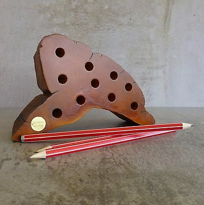 Vintage Handcrafted Huon Pine Pencil Holder Tasmania Native Australian Timber