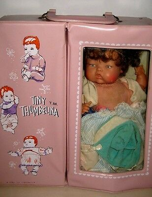 OTT-14 1960's  Ideal Tiny Thumbelina Doll & Case Vintage Outfits JUST ADORABLE!!