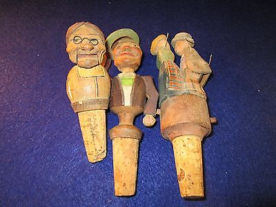 Lot of Vintage Hand Carved Painted Wooden Mechanical Wine Bottle Stoppers RARE!