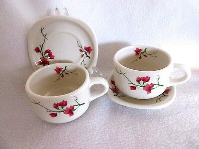 """Vintage Trend SYRACUSE China USA ~ 2 Cups & Square Saucers  sets """"Berkeley"""""""
