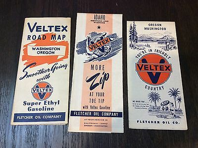 Veltex Road Map Lot 1940 To 60's 3pc  Rare Collectible Vintage