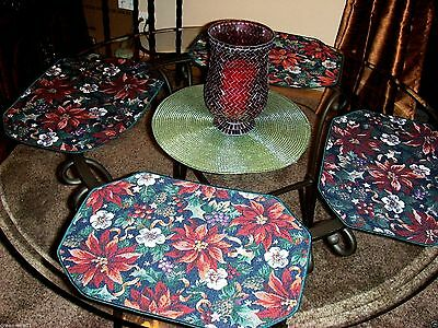 ~ New Navy Burgundy Poinsettia Tapestry Christmas Holiday Runner & 4 Place Mats