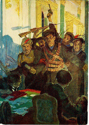 1957 VERY RARE Russian card SAILORS AGAINST PROVISIONAL GOVERNMENT by Yu.Reiner