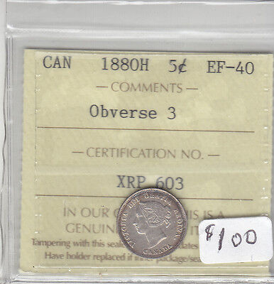 1880H Obv 3 Canadian 5 Cent Coin Iccs Ef-40