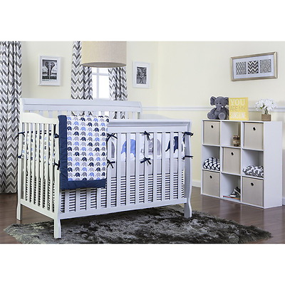Convertible 5-in-1 Baby Crib Nursery Grow Daybed Toddler Full Bed, Grey NEW