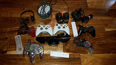 Huge Lot Of Controllers Playstation Xbox PS2 Atari Kinect Skylander Wii Headset