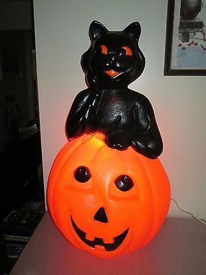 Vintage Halloween Decorations Blow Mold Empire Black Cat and Pumpkin Rare 35""