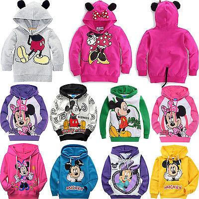 Kids Boys Girls Disney Mickey Minnie Mouse Long Sleeve Hoodie T-Shirt Sweatshirt