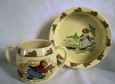 Vintage SYLVAC Teddy BEAR Ware Child's BOWL & Double Handled CUP, England
