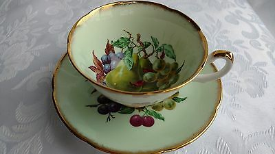 Royal Grafton Mint Green Tea Cup and Saucer with Mixed Fruit