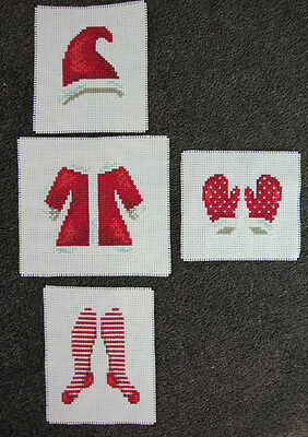4 CROSS stitch SANTA suit PIECES hat MITTEN stockings JACKET christmas RED white