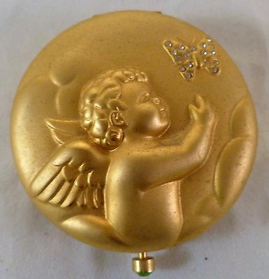 Never Used Estee Lauder Powder in August Angel Satin Goldtone Compact