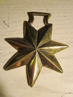 VINTAGE BRASS  HORSE BRIDLE ORNAMENT - 7 Pointed Star