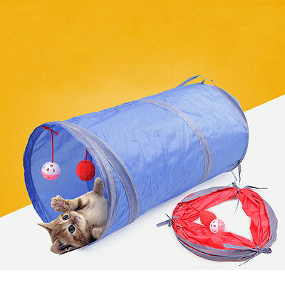 Cat Kitten Pop Up Play Tunnel Playing Toy Collapsible Tunnel With 2 Suspend Ball