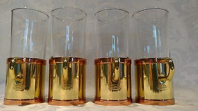 Beautiful Set of 4 Beucler Irish Coffee Gold Color Glass Holders