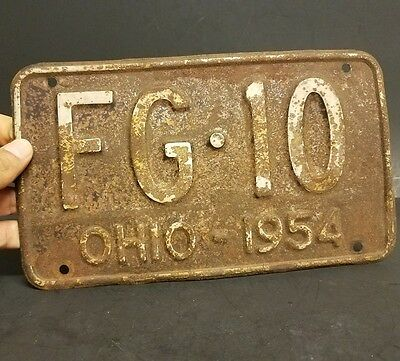 Rusty! Ohio 1954 Motorcycle License Plate 4 digit really rare and eye catching!