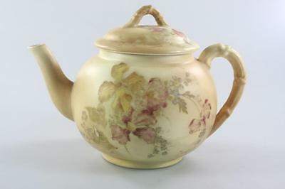Antique Royal Worcester Floral Pattern Wilted Creme Teapot