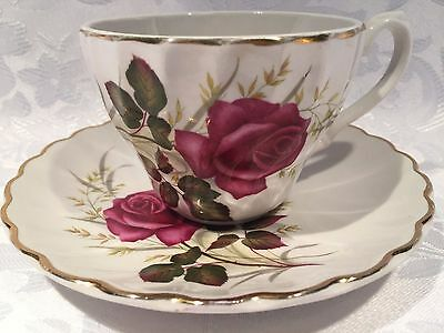 Beautiful Anniversary Rose Ironstone Ware by Myott England Tea Cup and Saucer