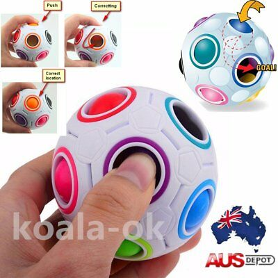 Rainbow Football Creative Ball Children Kids Spherical Magic Cube Puzzle Toy BU