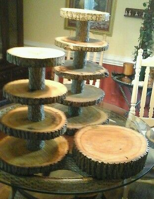 3 Piece Set Rustic Wedding 5,4,Tier Natural Log Cupcake & Cake Topper Stand