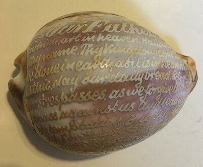 Antique Carved Cowrie Shell: The Lord's Prayer