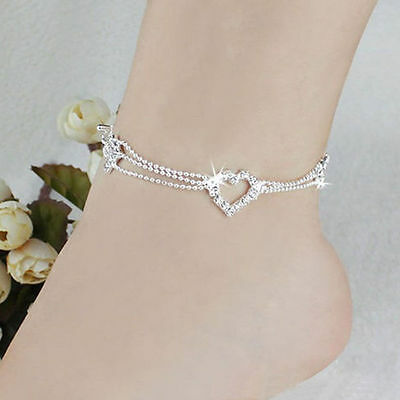 Heart Shape Charm Silver Plated Bead Anklet Ankle Bracelet Chain Crystal Jewelry